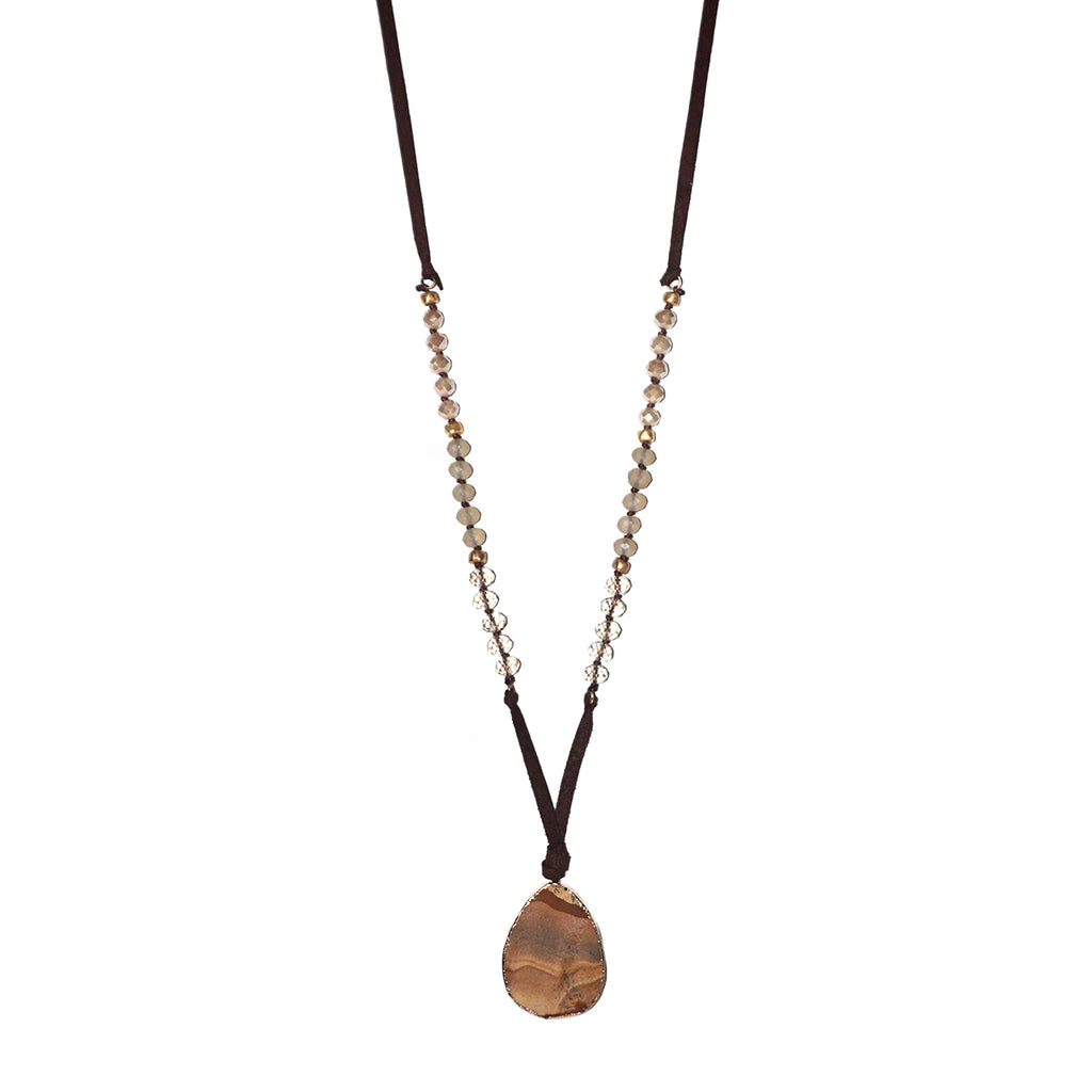 suede stone pendant necklace