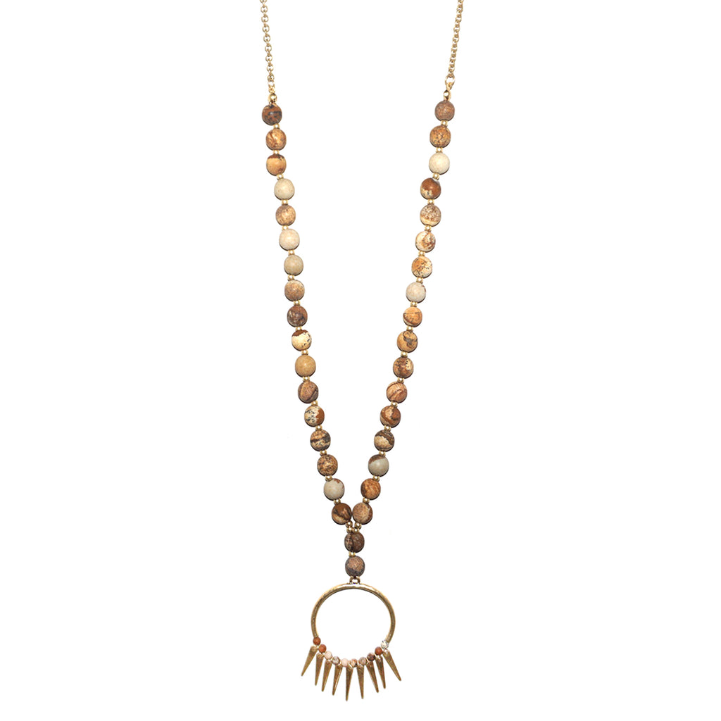 Long necklaces marlyn schiff llc beaded fringe pendant necklace images 1 2 3 aloadofball Gallery
