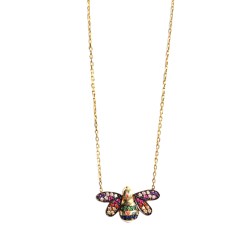 sterling rainbow pave bee necklace
