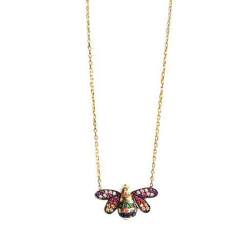 rainbow pave bee necklace
