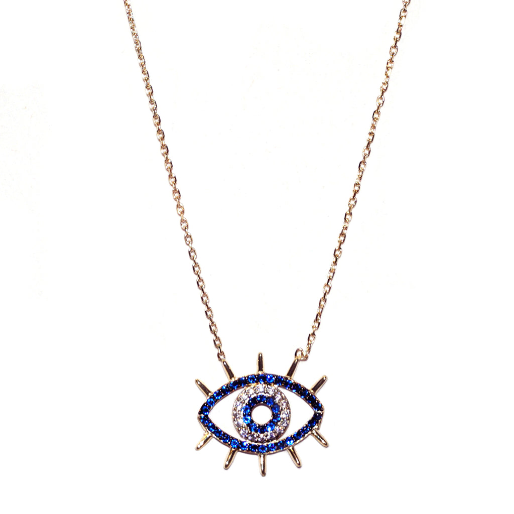 sterling cz evil eye necklace