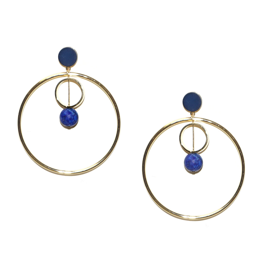 double circle stone earring