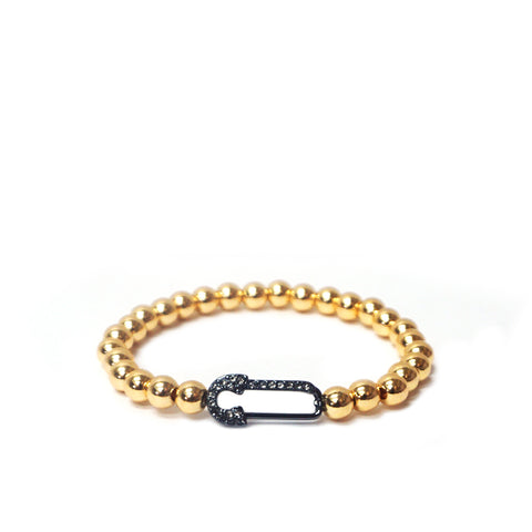 Pave Safety Pin Stretch Bracelet