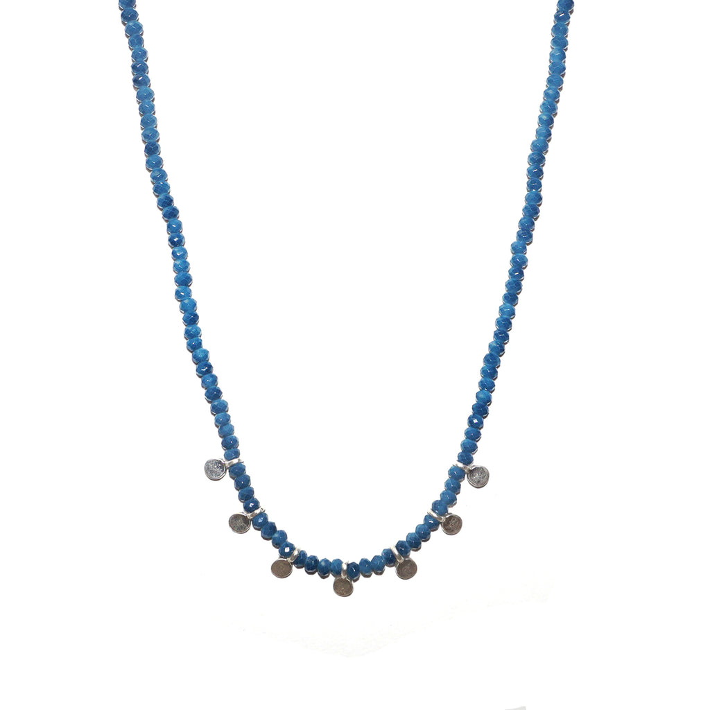 teal crystal mini drop disc necklace