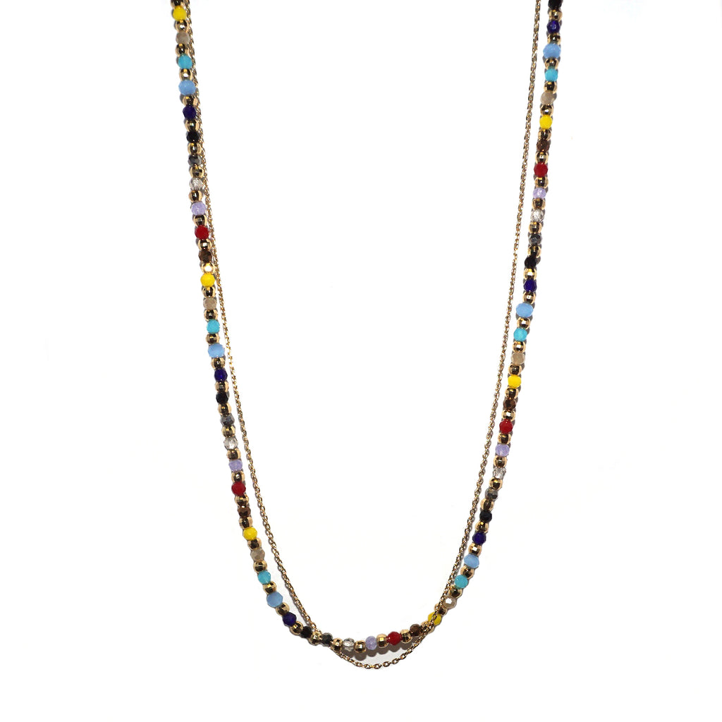 double strand bead & chain necklace