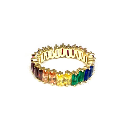 sterling rainbow baguette ring