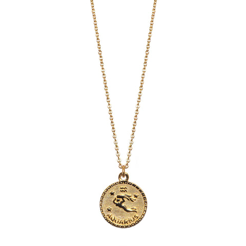 sterling aquarius zodiac necklace