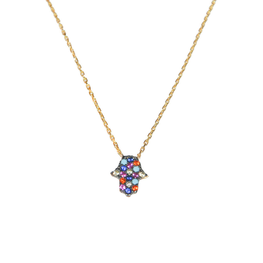 sterling rainbow hamsa necklace