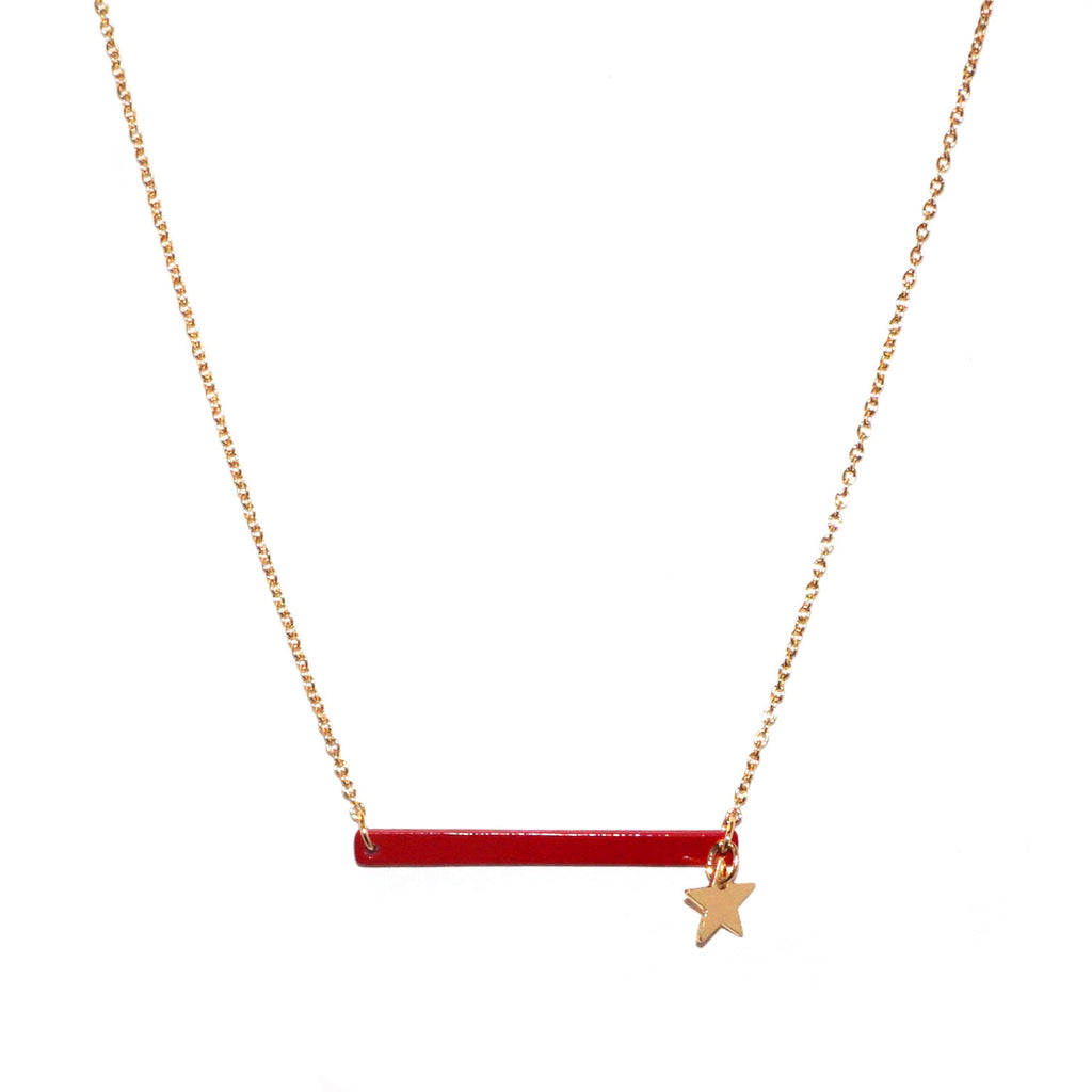enamel bar & star necklace