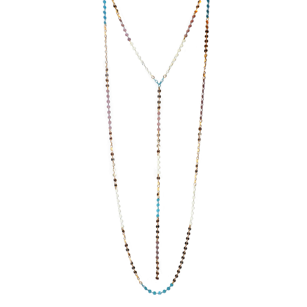 teal double chain Y necklace
