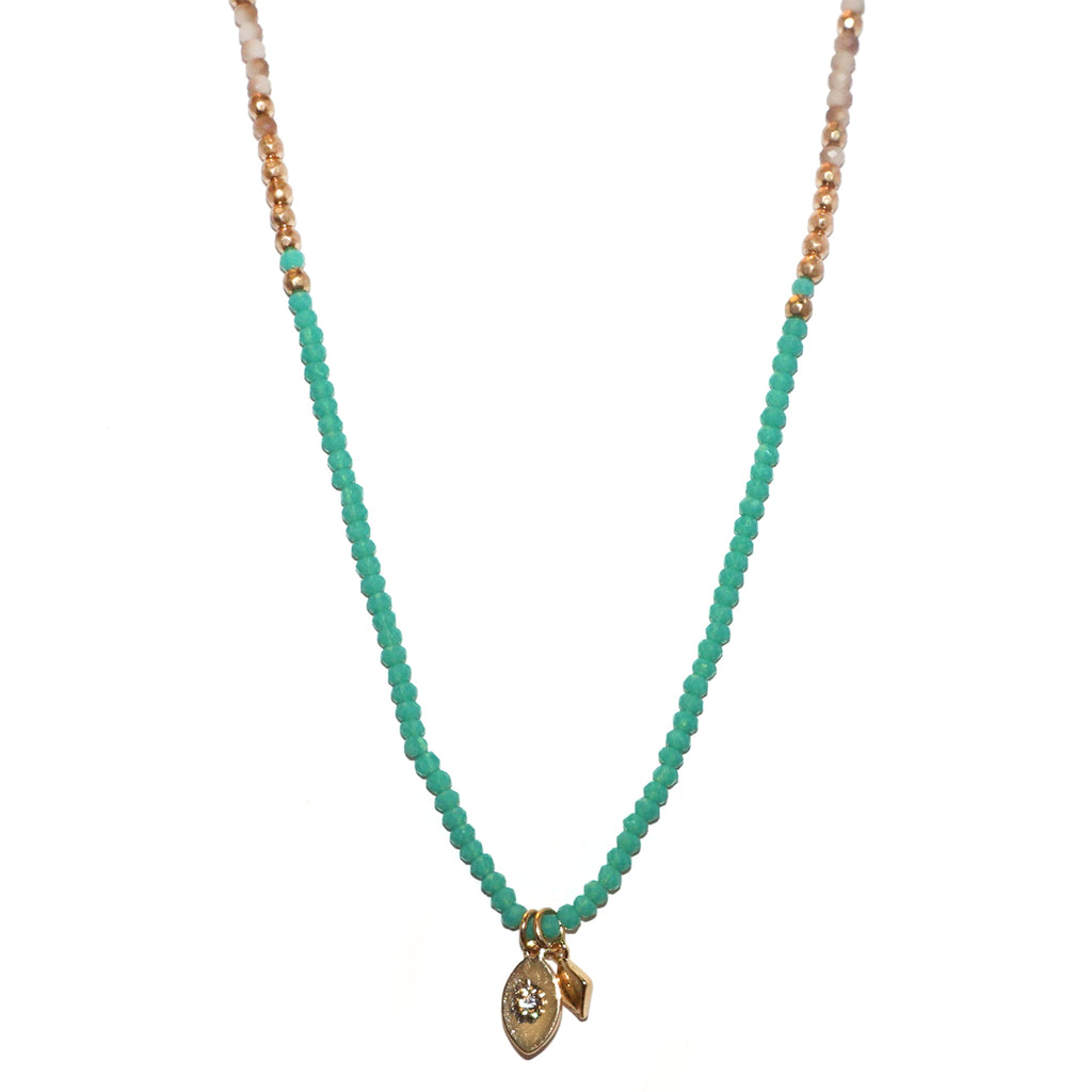 beaded mini double charm necklace