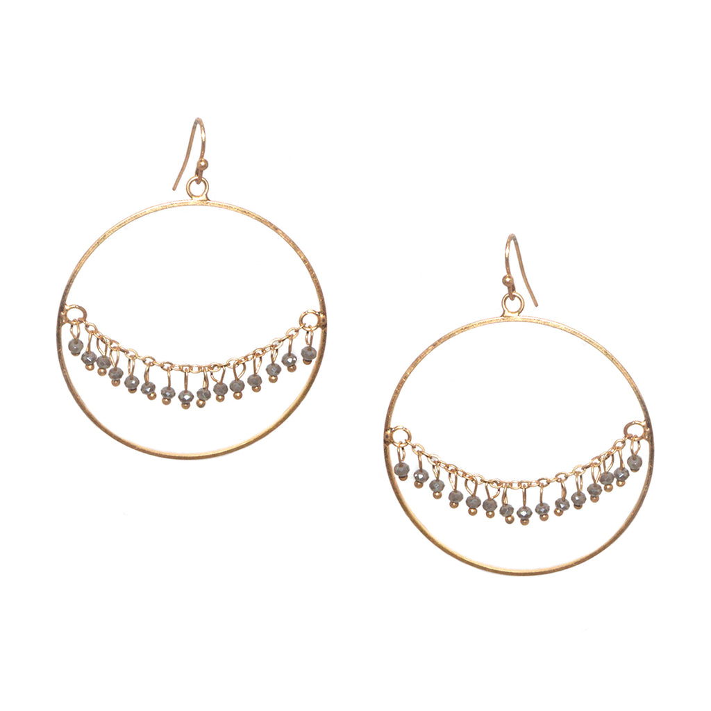 crystal circle drape earring