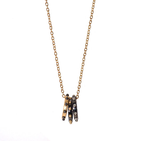 studded tri-ring necklace