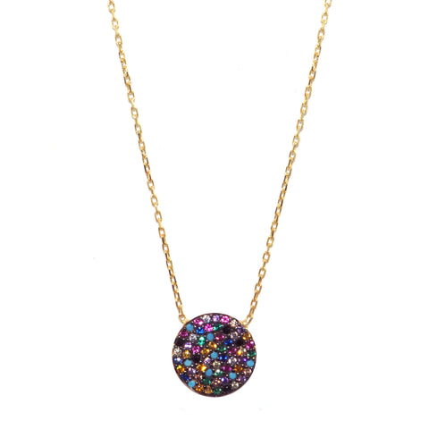 sterling rainbow disc necklace