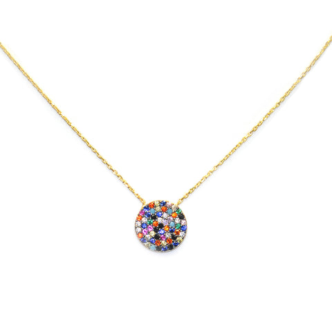 sterling rainbow CZ disc necklace