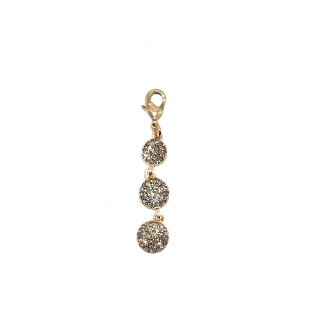tri-circle pave drop clasp charm
