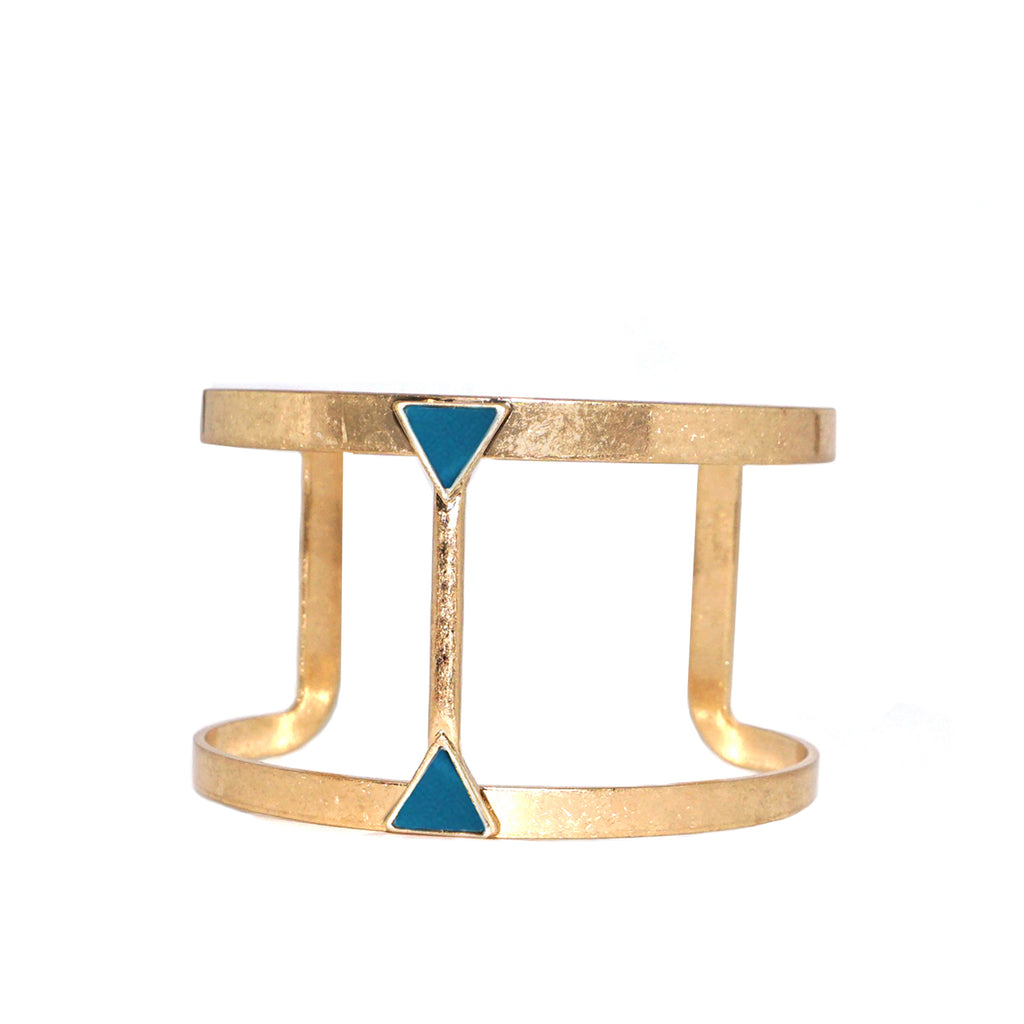 teal open triangle cuff