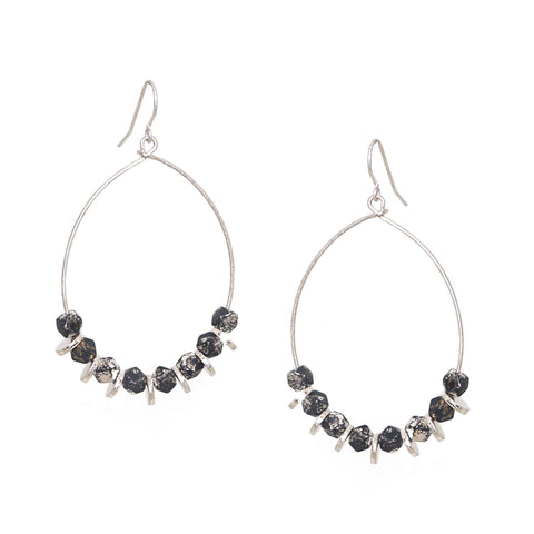 teardrop coated metal bead earring
