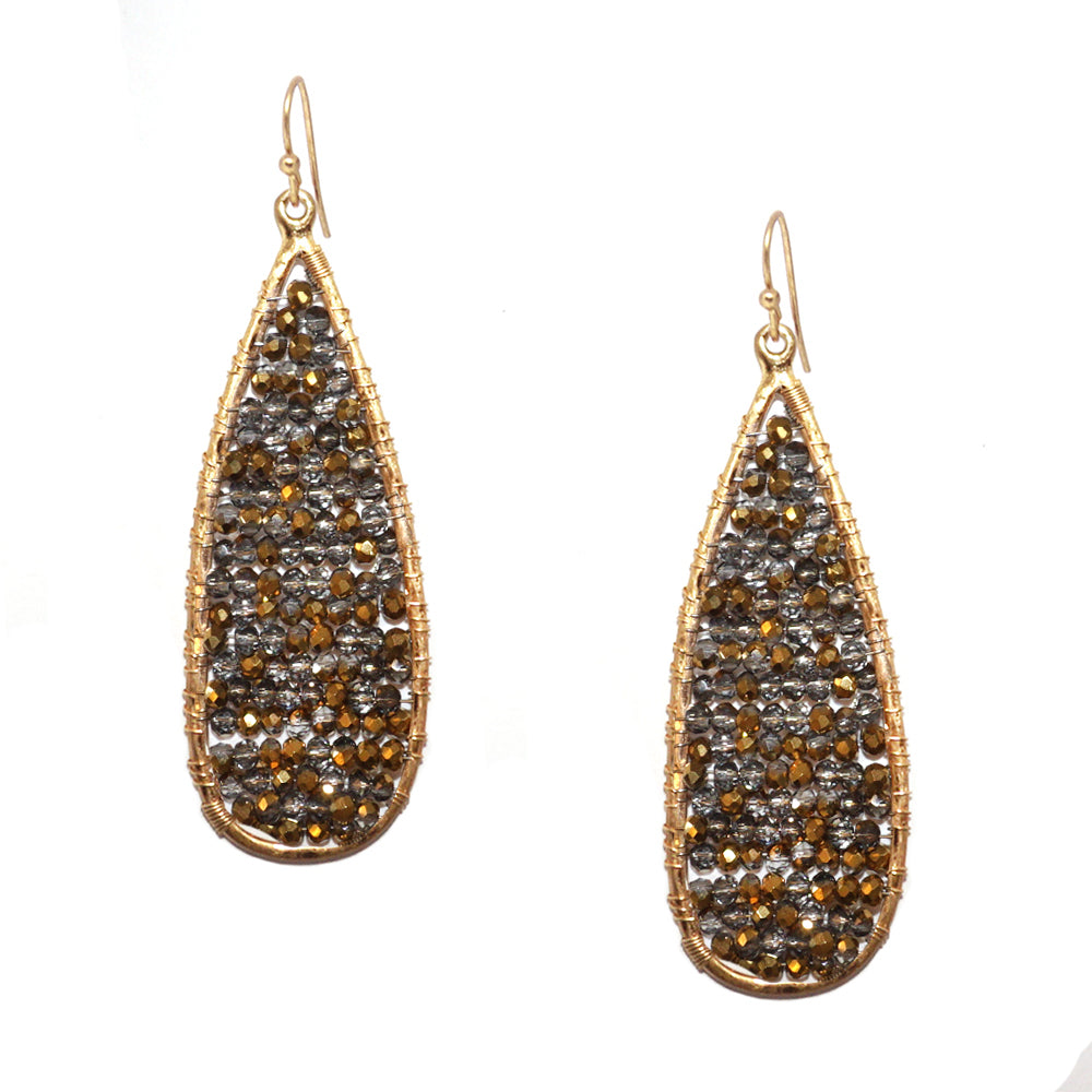 "long teardrop crystal bead ""liv"" earring"