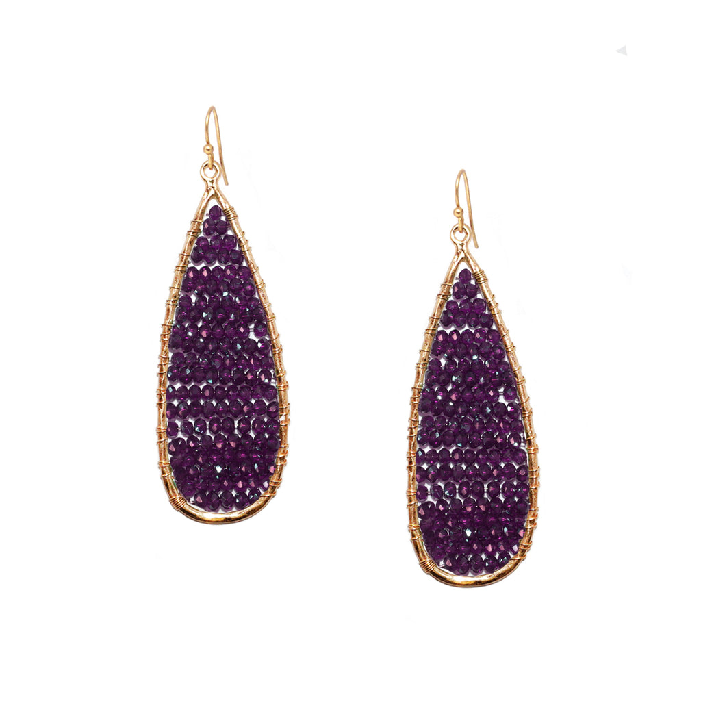 long teardrop crystal bead earring