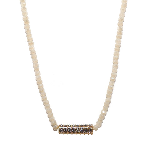 pave stone bar necklace