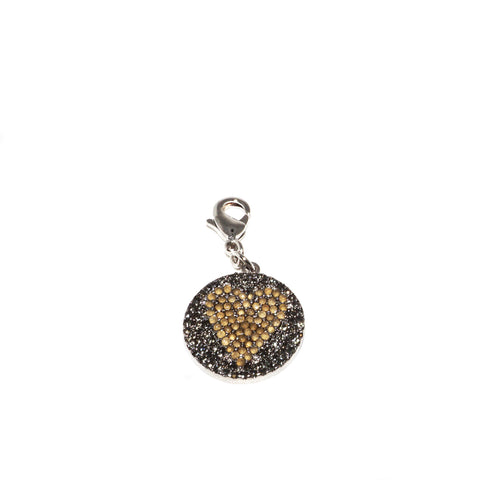 pave heart disc clasp charm