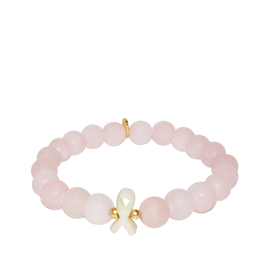 breast cancer awareness rose quartz ribbon bracelet