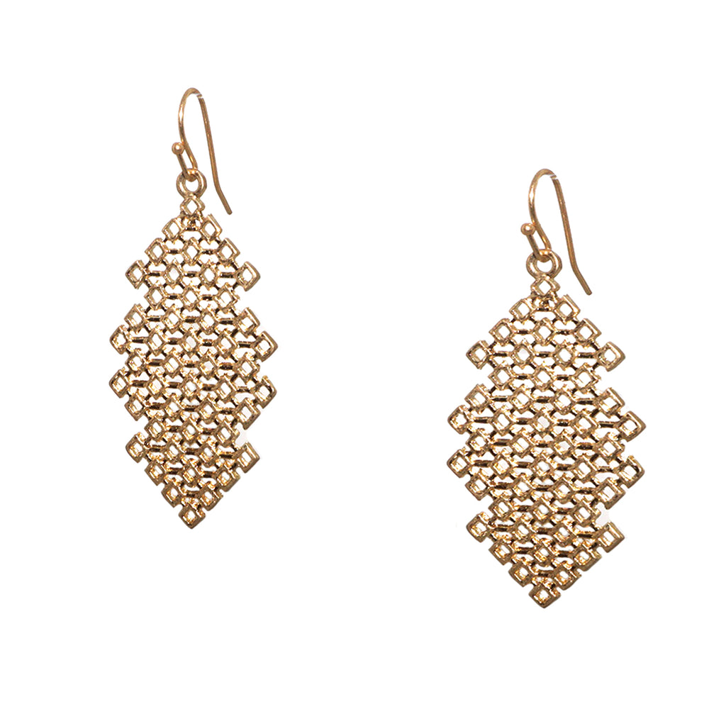 diamond shape mesh metal earring