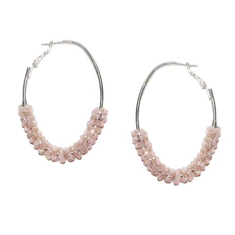 oval crystal cluster earring