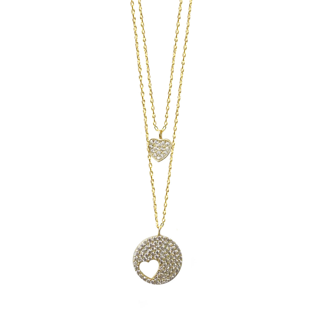 sterling heart disc layer necklace