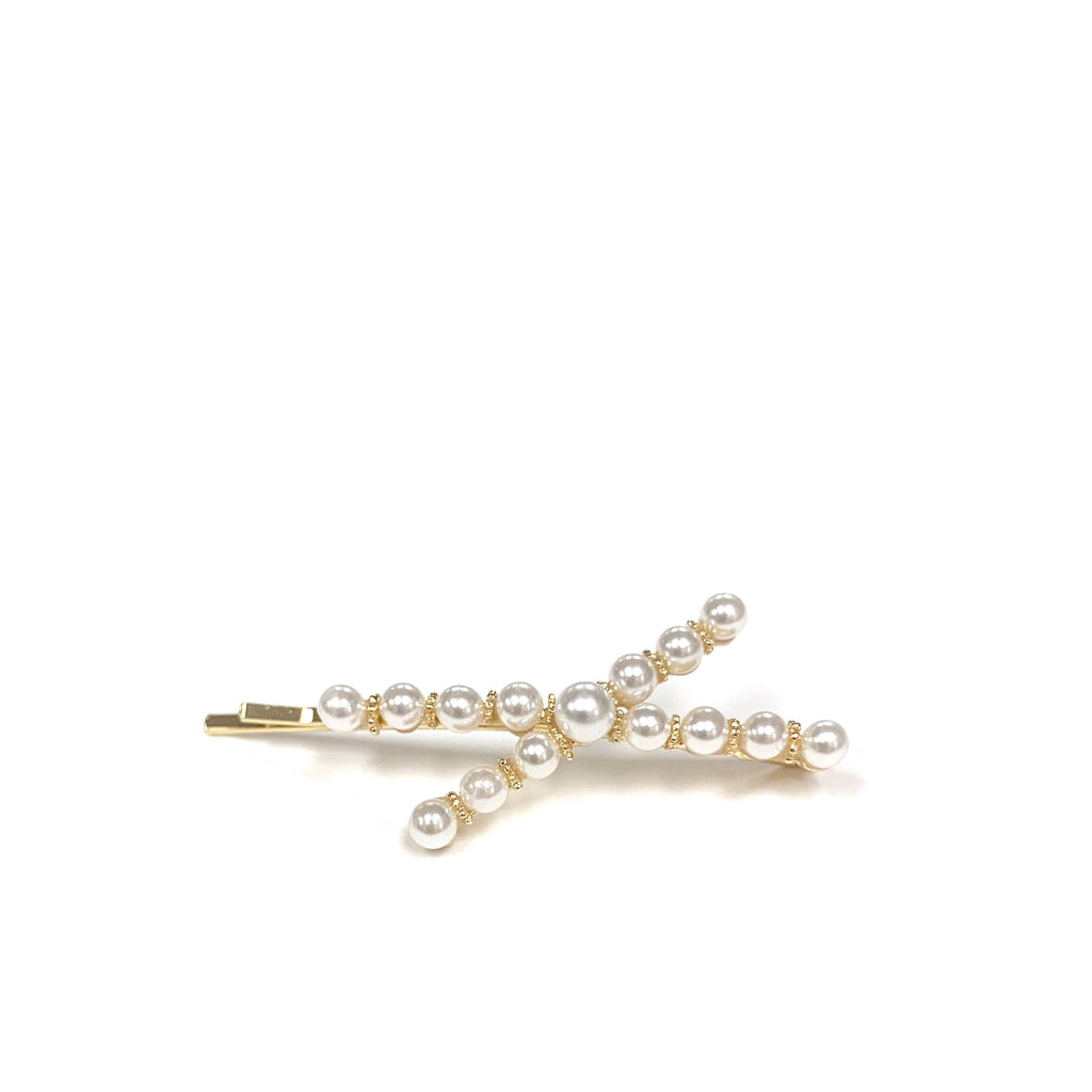 criss cross pearl hair pin