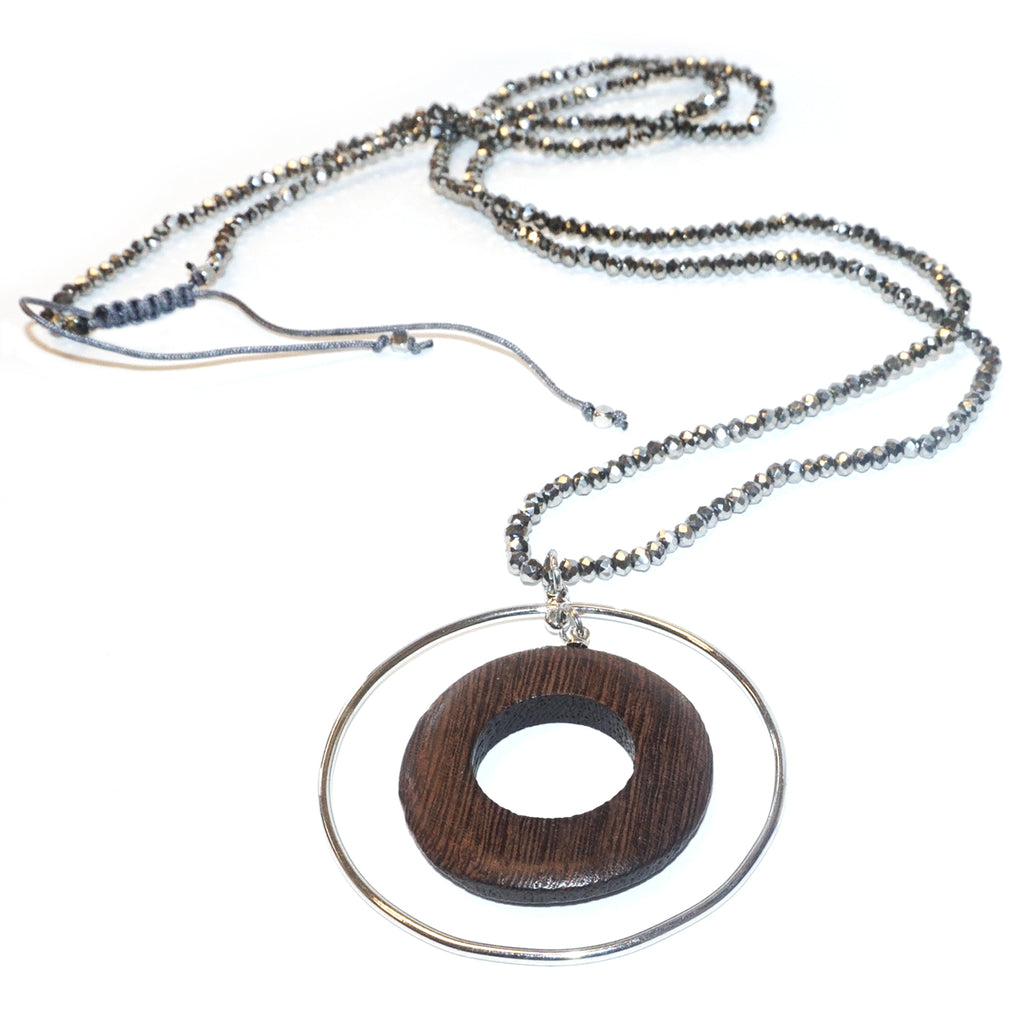 wood circle pendant necklace