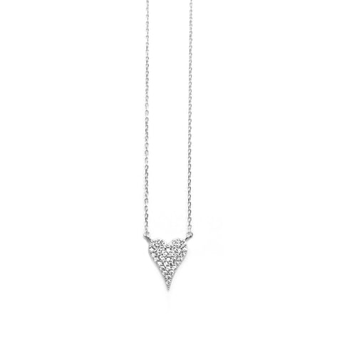sterling pave heart necklace