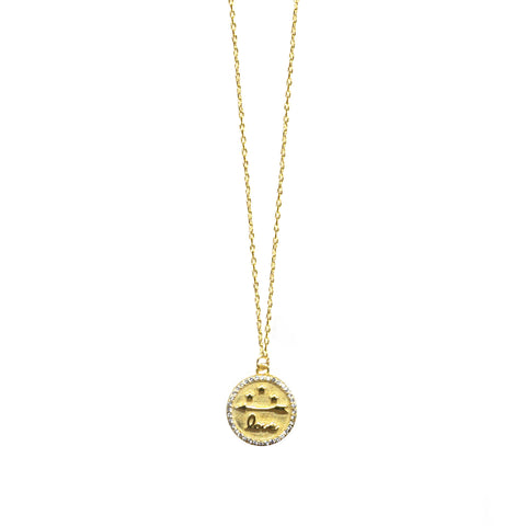 sterling love disc necklace