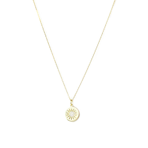 sterling flower disc necklace