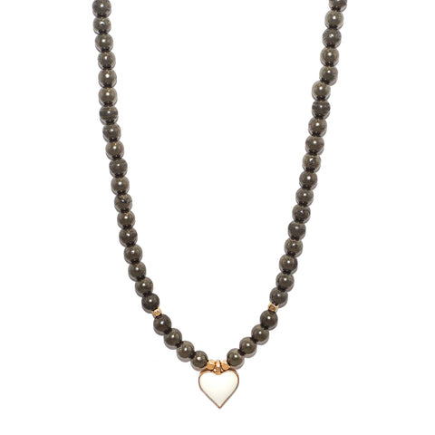 adjustable enamel heart necklace