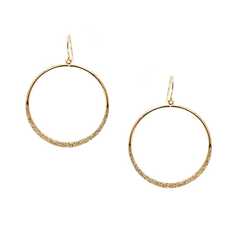 textured metal open drop earring