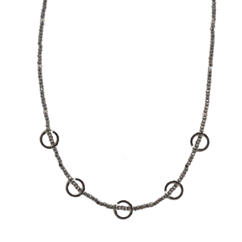 cyrstal beaded open circle necklace