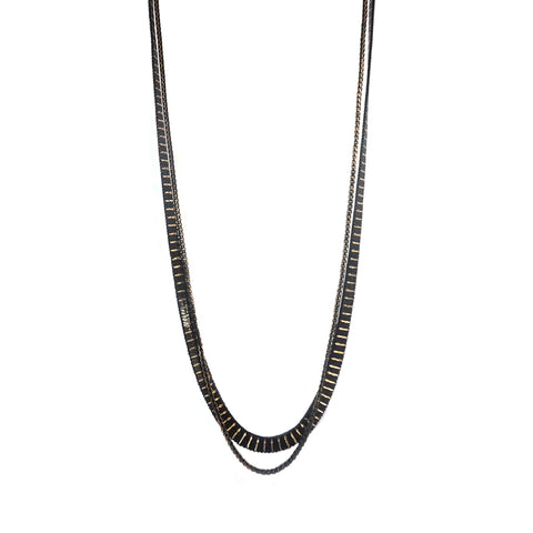 long mixed metal double chain necklace