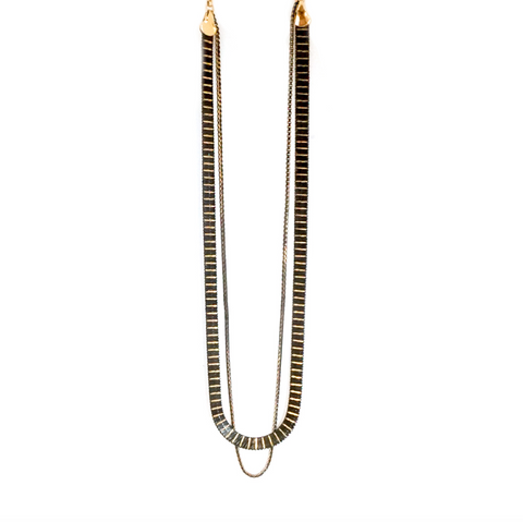 short mixed metal double chain necklace
