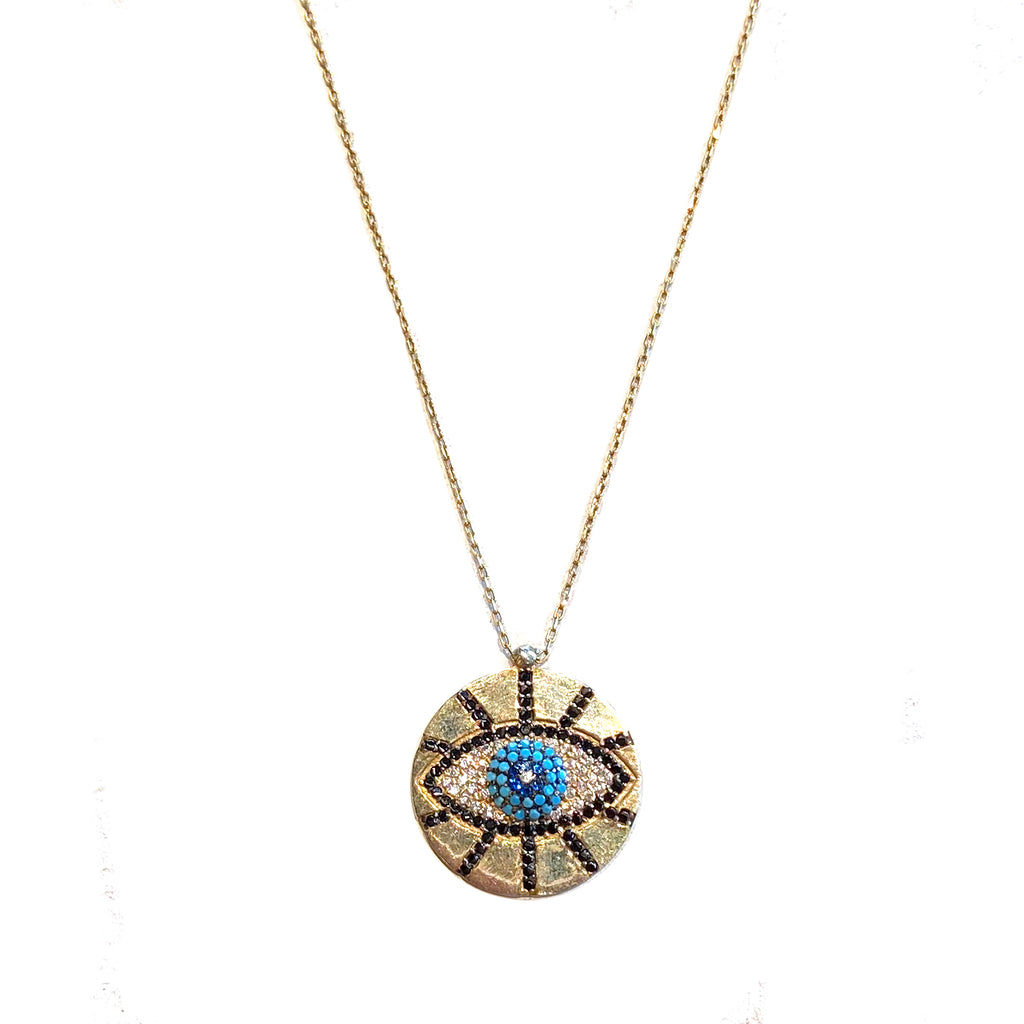 sterling pave evil eye necklace