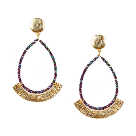 "curved crystal teardrop ""rel"" earring"