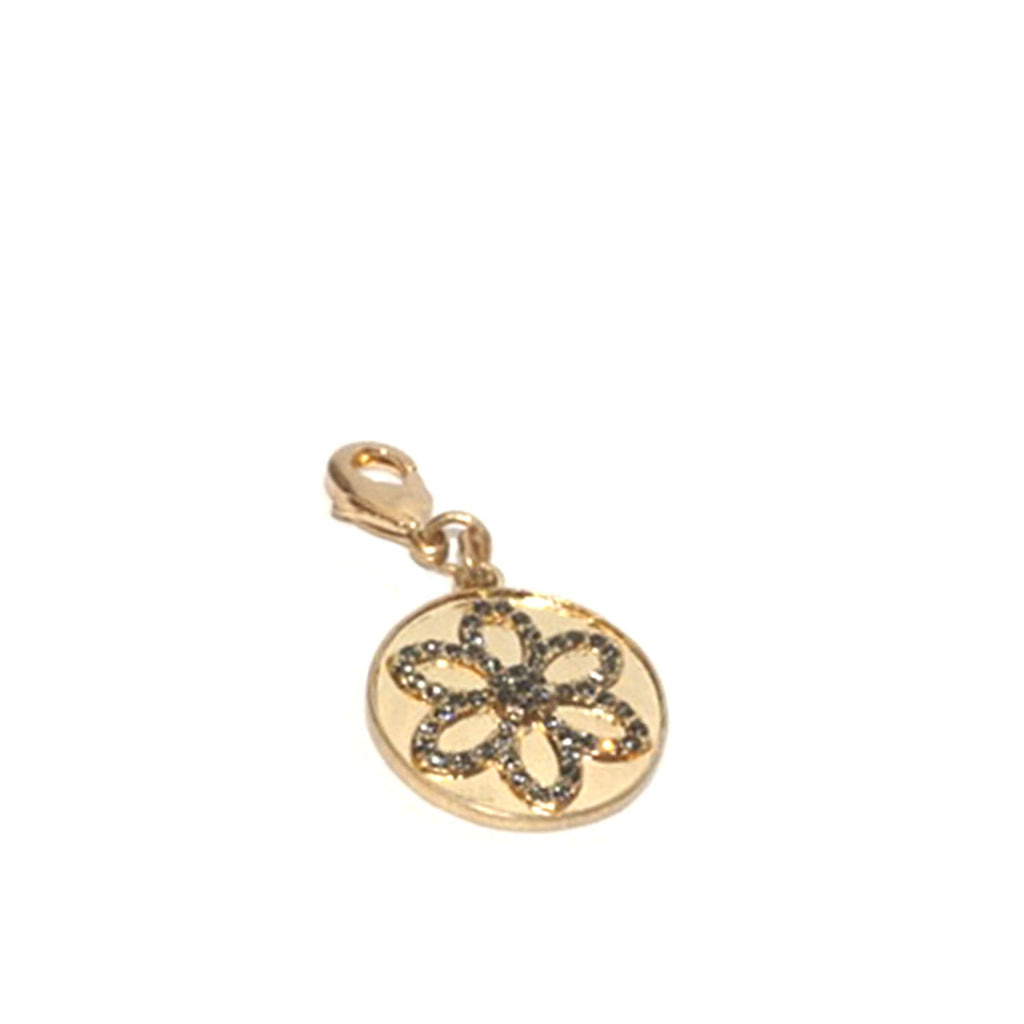 pave flower clasp charm