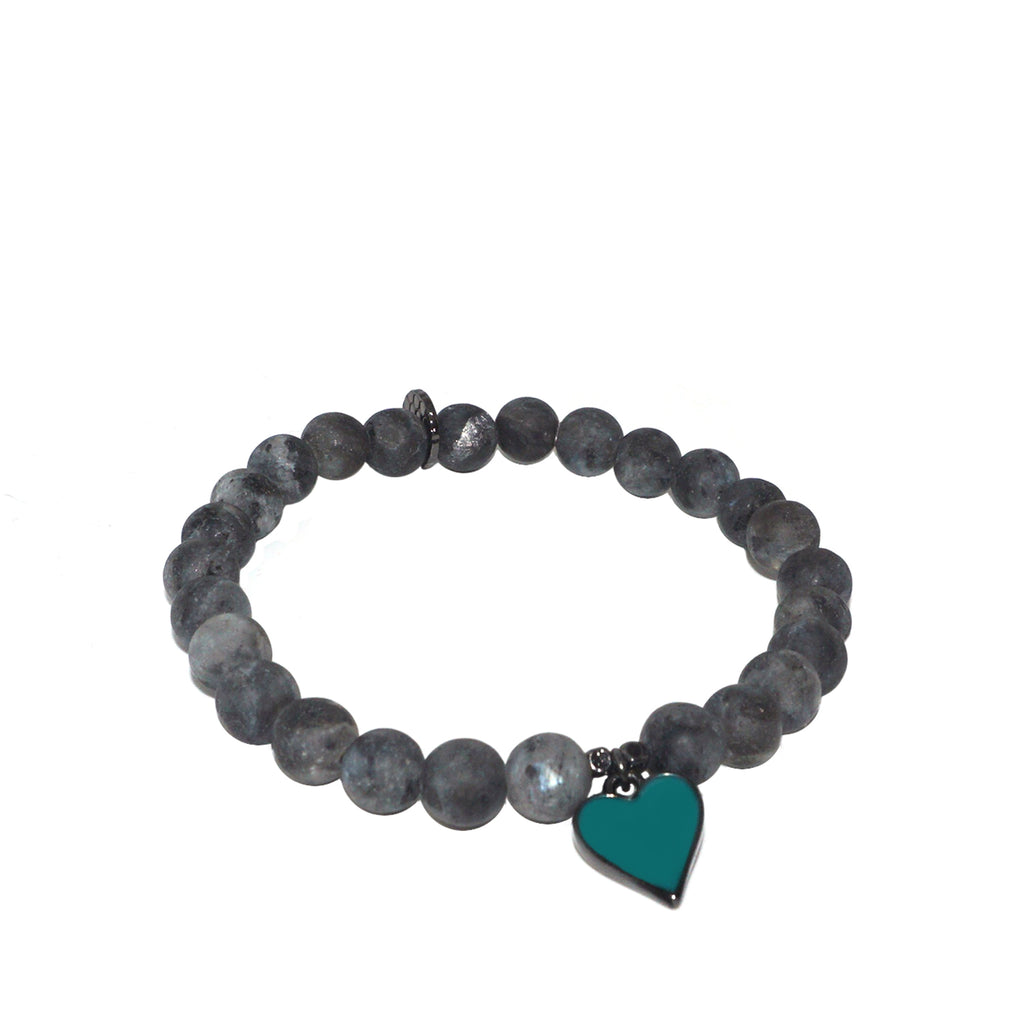 teal enamel heart stretch bracelet