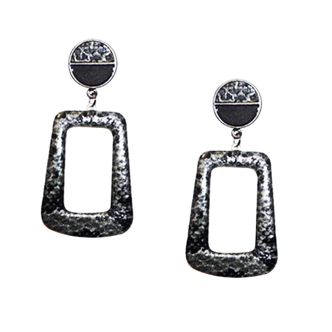 snakeskin drop rectangle earring