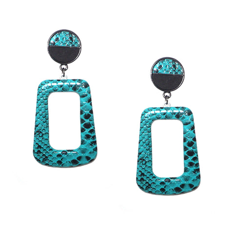 teal snakeskin drop earring