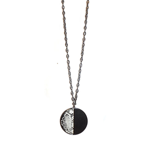 snakeskin wood disc necklace