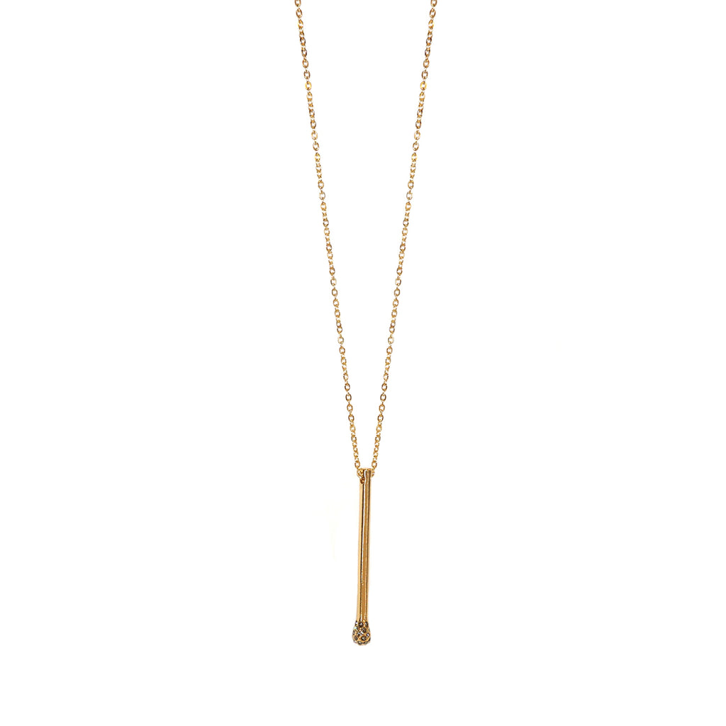 pave matchstick pendant necklace