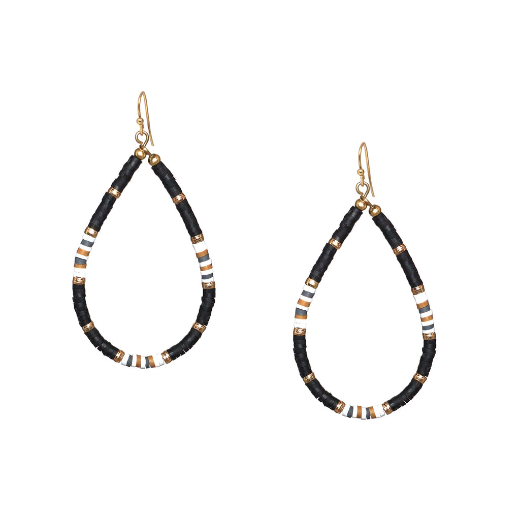 heishi bead open teardrop earring