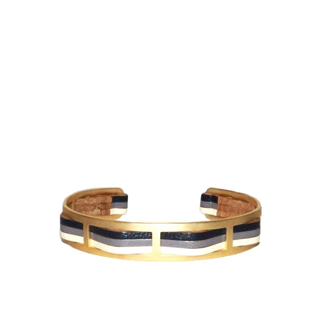 metal leather stripe cuff